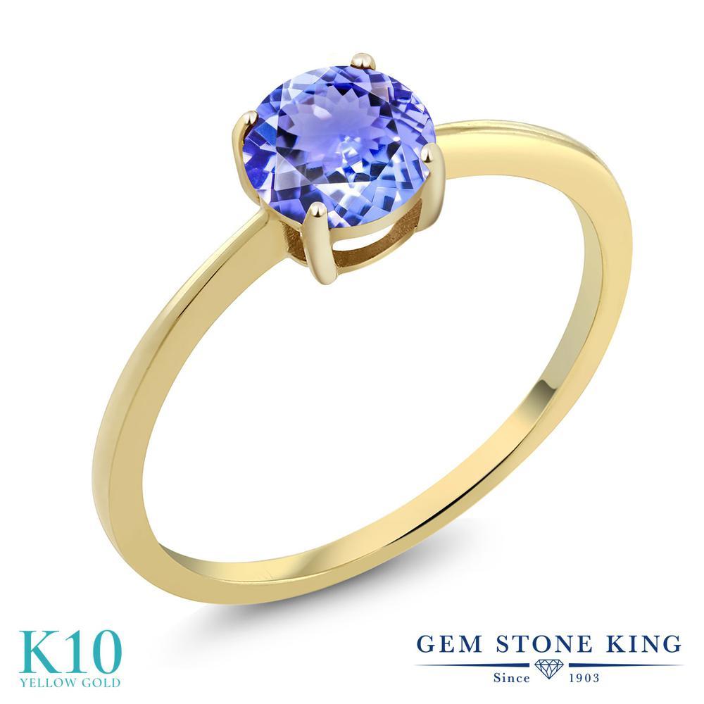 Gem Stone King 0.9カラット 天然石 タンザナイト 10金 イエローゴールド(K10) 指輪 リング レディース 一粒 シンプル ソリティア 天然石 12月 誕生石 金属アレルギー対応 婚約指輪 エンゲージリング