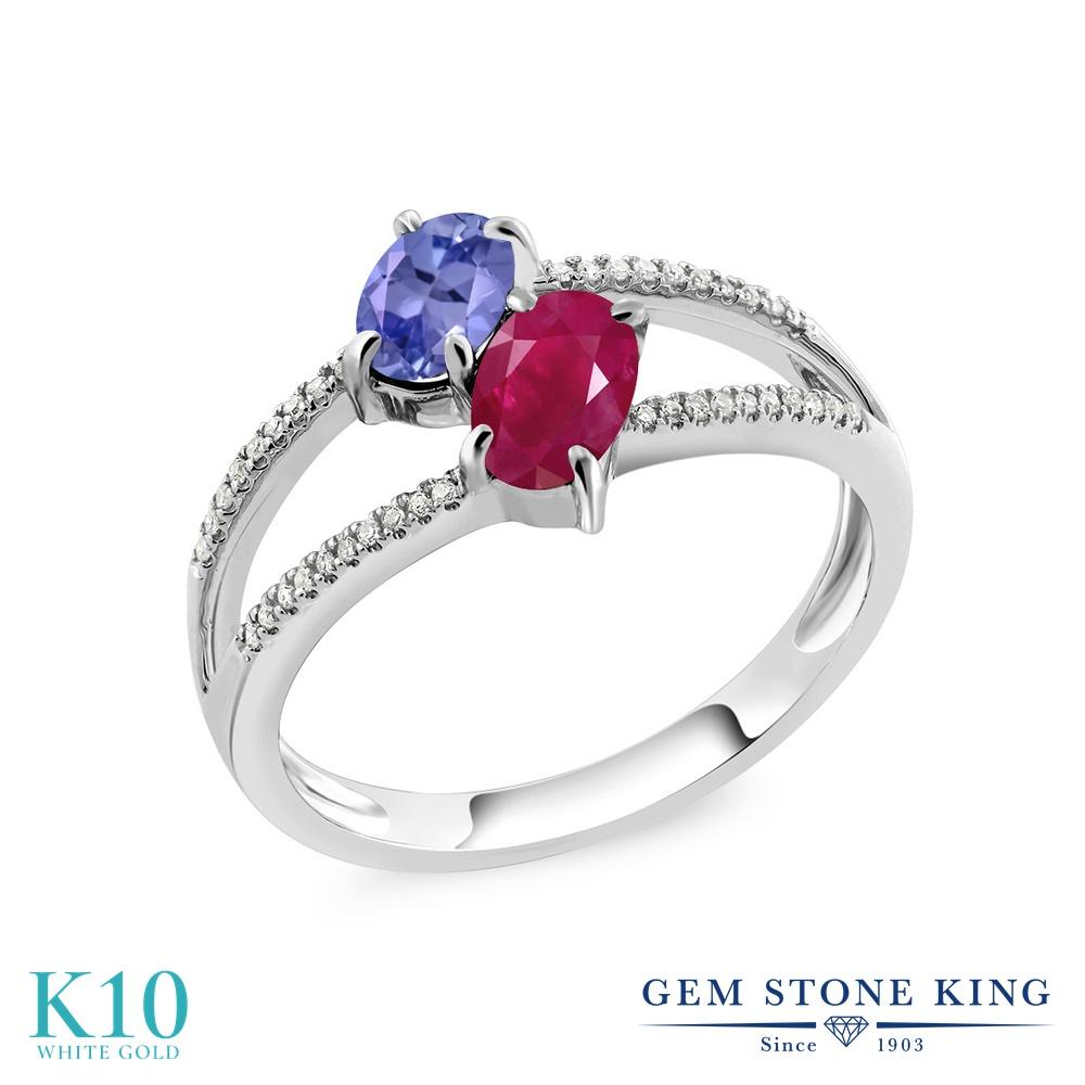 Gem Stone King 1.33カラット 天然石 タンザナイト 天然 ルビー 天然 ダイヤモンド 10金 ホワイトゴールド(K10) 指輪 リング レディース 小粒 ダブルストーン 天然石 12月 誕生石 金属アレルギー対応 誕生日プレゼント