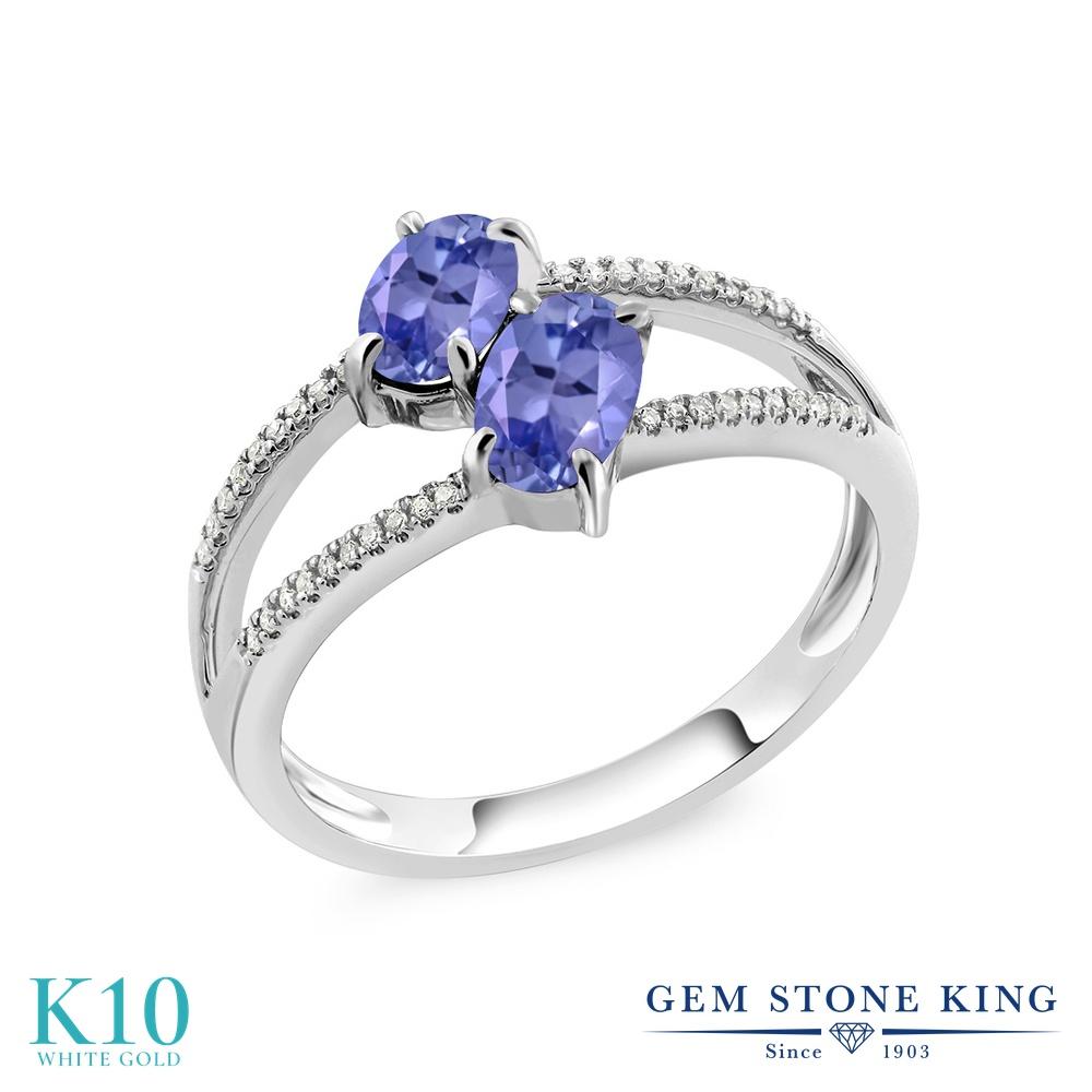 Gem Stone King 1.18カラット 天然石 タンザナイト 天然 ダイヤモンド 10金 ホワイトゴールド(K10) 指輪 リング レディース 小粒 ダブルストーン 天然石 12月 誕生石 金属アレルギー対応 誕生日プレゼント