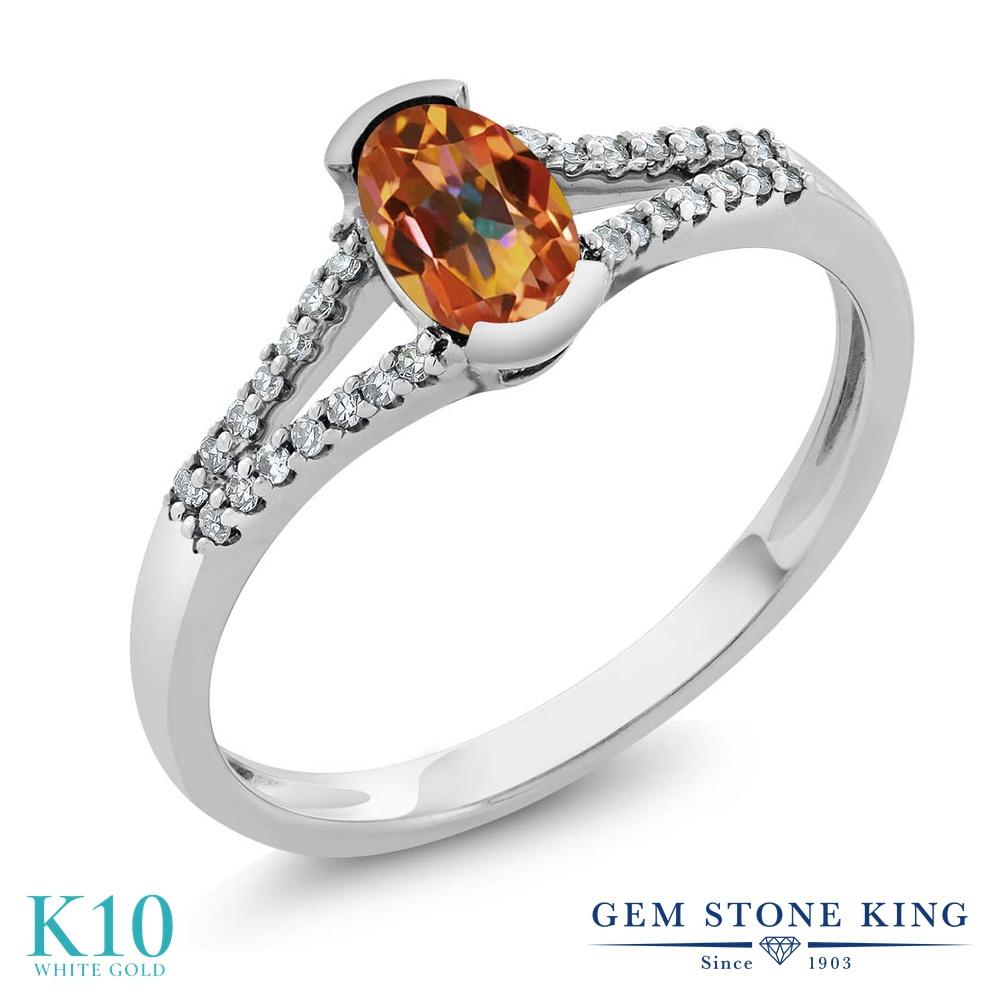 Gem Stone King 0.6カラット 天然石 エクスタシーミスティックトパーズ 天然 ダイヤモンド 10金 ホワイトゴールド(K10) 指輪 リング レディース 小粒 マルチストーン 天然石 金属アレルギー対応 誕生日プレゼント