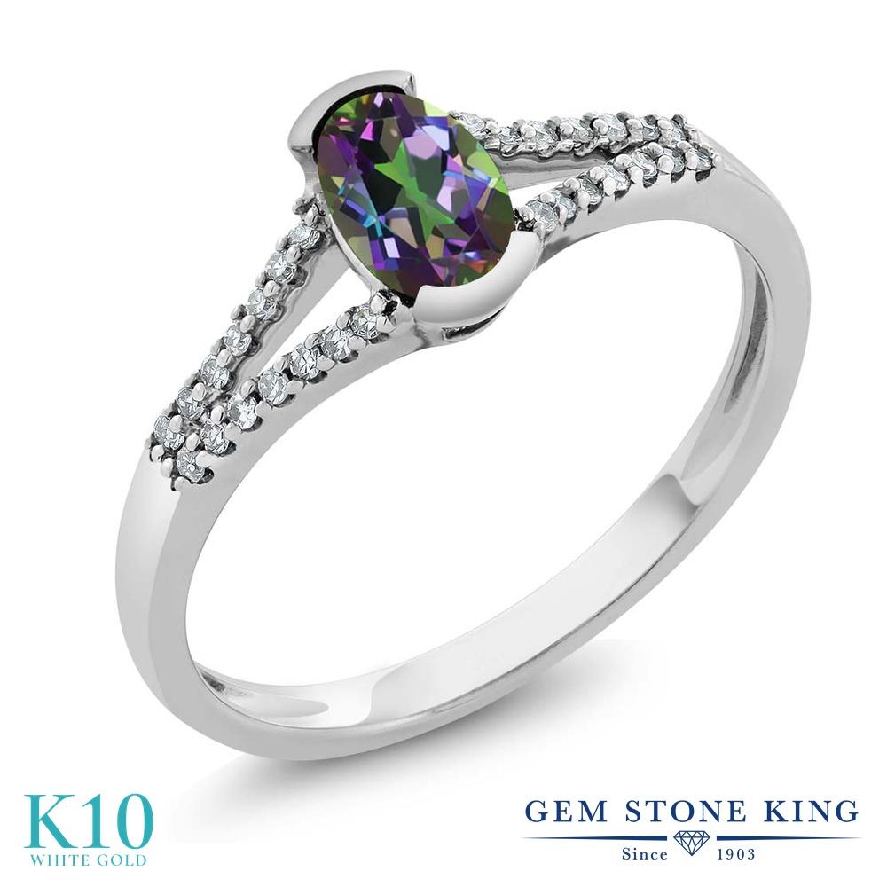 Gem Stone King 0.6カラット 天然石 ミスティックトパーズ (グリーン) 天然 ダイヤモンド 10金 ホワイトゴールド(K10) 指輪 リング レディース 小粒 マルチストーン 天然石 金属アレルギー対応 誕生日プレゼント