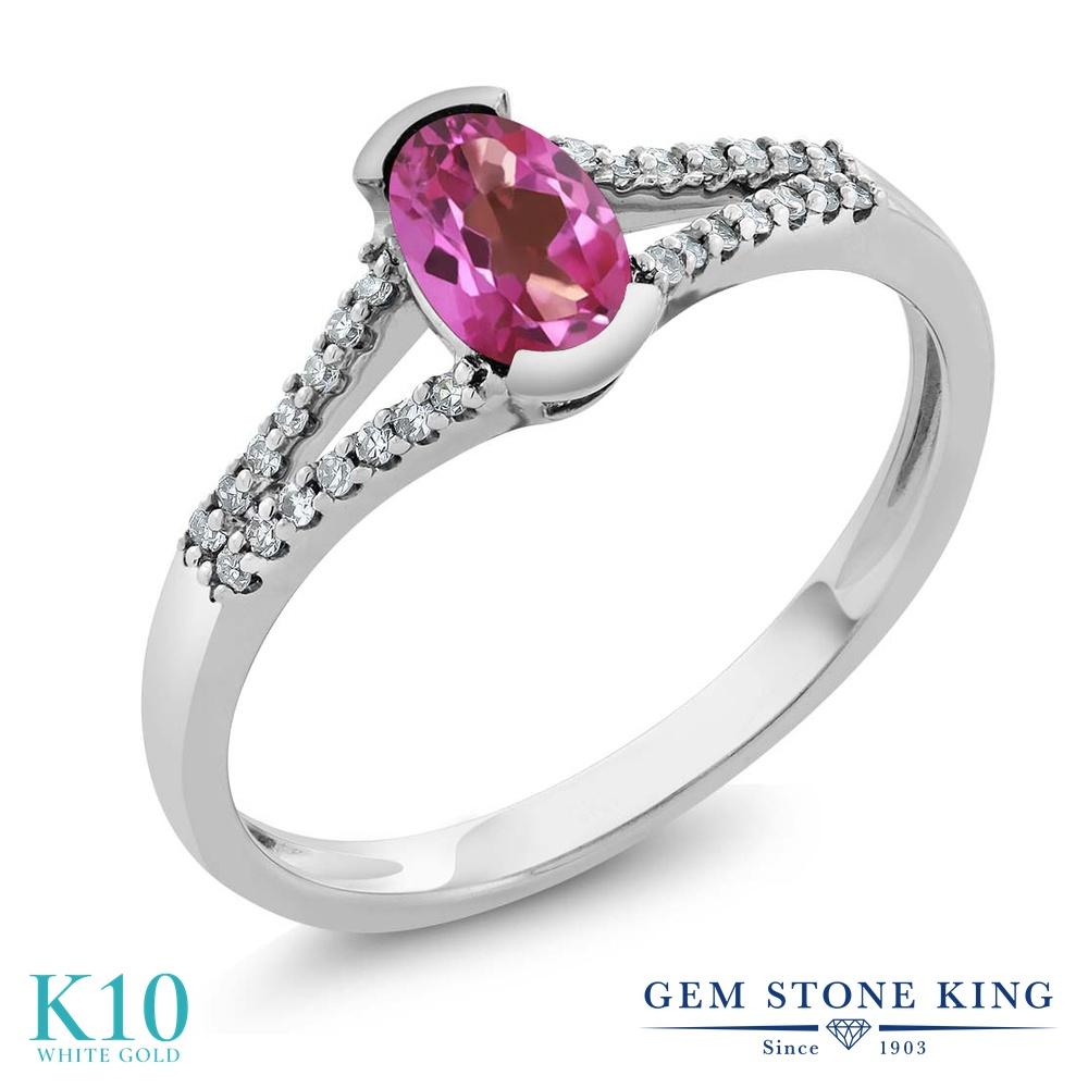 Gem Stone King 0.6カラット 天然 ミスティックトパーズ (ピンク) 天然 ダイヤモンド 10金 ホワイトゴールド(K10) 指輪 リング レディース 小粒 マルチストーン 天然石 金属アレルギー対応 誕生日プレゼント