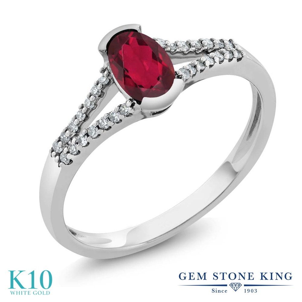 Gem Stone King 0.6カラット 天然 ミスティックトパーズ (ルビーレッド) 天然 ダイヤモンド 10金 ホワイトゴールド(K10) 指輪 リング レディース 小粒 マルチストーン 天然石 金属アレルギー対応 誕生日プレゼント