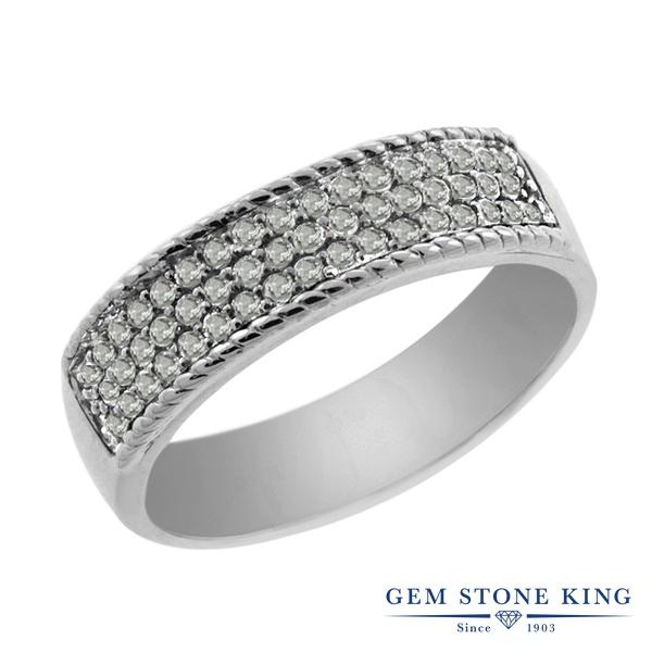 Gem Stone King 0.45カラット 天然 ダイヤモンド シルバー925(純銀) 指輪 リング レディース ホワイト ダイヤ 小粒 バンド パヴェ 天然石 4月 誕生石 金属アレルギー対応 誕生日プレゼント