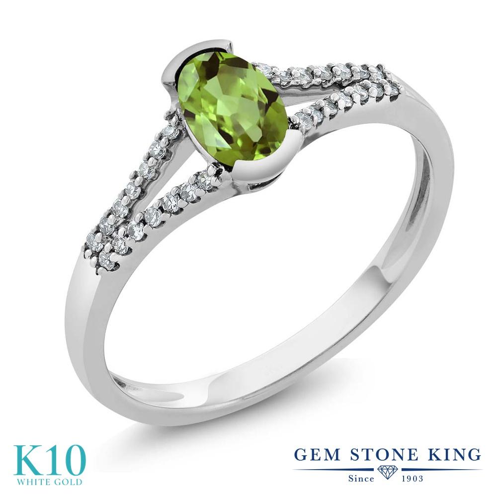 Gem Stone King 0.6カラット 天然石 ペリドット 天然 ダイヤモンド 10金 ホワイトゴールド(K10) 指輪 リング レディース 小粒 マルチストーン 天然石 8月 誕生石 金属アレルギー対応 誕生日プレゼント