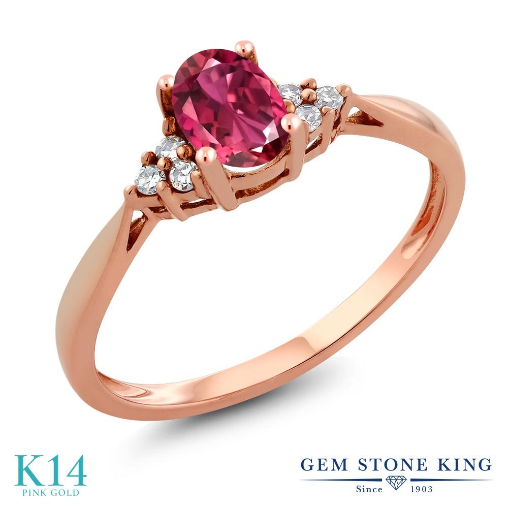 Gem Stone King 0.38カラット AAAグレード 天然 ピンクトルマリン 天然 ダイヤモンド 14金 ピンクゴールド(K14) 指輪 リング レディース 小粒 ソリティア 華奢 細身 天然石 金属アレルギー対応 誕生日プレゼント