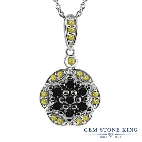 Gem Stone King 0.55カラット 天然ブラックダイヤモンド 天然 イエローサファイア シルバー925 ネックレス ペンダント レディース ブラック ダイヤ 小粒 天然石 4月 誕生石 金属アレルギー対応 誕生日プレゼント