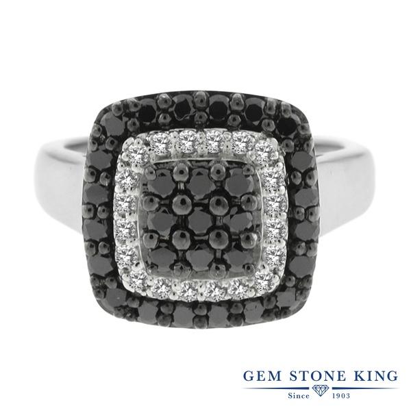 Gem Stone King 0.93カラット 天然ブラックダイヤモンド シルバー925 指輪 リング レディース ブラック ダイヤ 小粒 クラスター 天然石 4月 誕生石 金属アレルギー対応 誕生日プレゼント