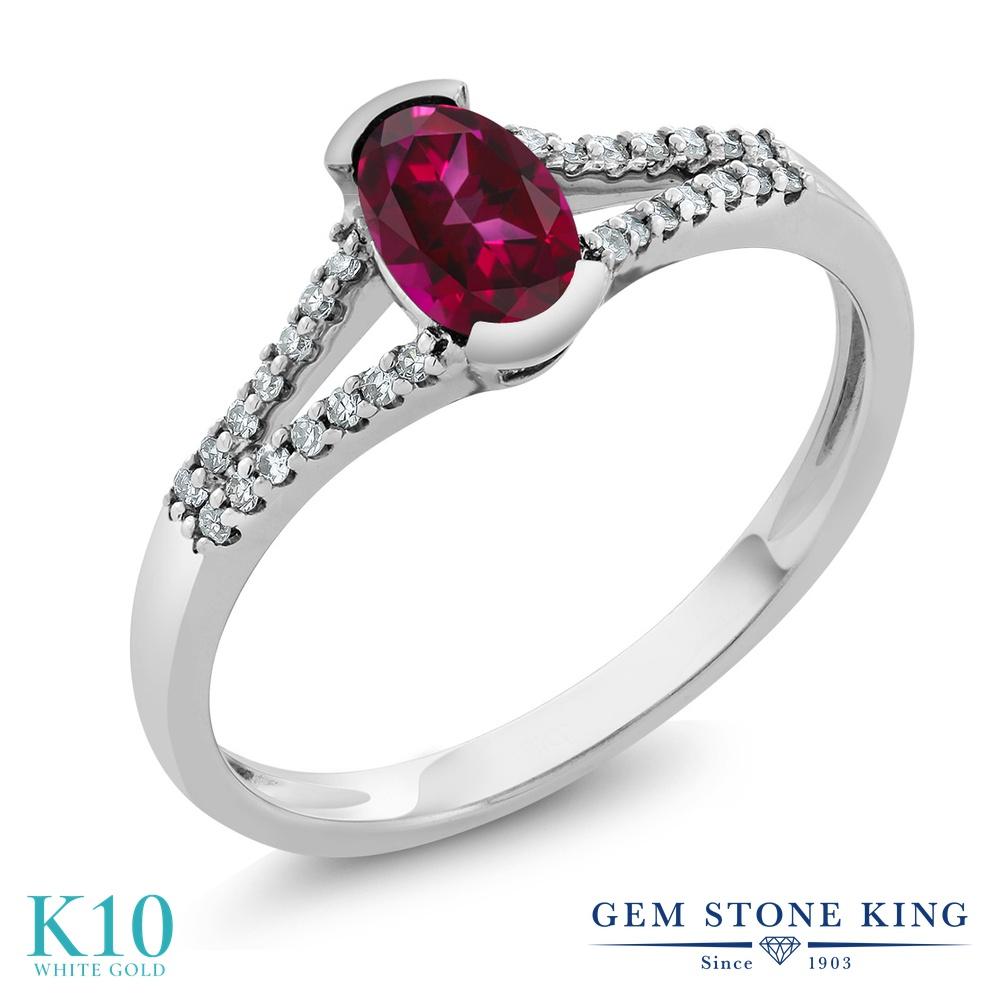 Gem Stone King 0.6カラット 天然石 レッドトパーズ (スワロフスキー 天然石シリーズ) 天然 ダイヤモンド 10金 ホワイトゴールド(K10) 指輪 リング レディース 小粒 マルチストーン 天然石 金属アレルギー対応 誕生日プレゼント