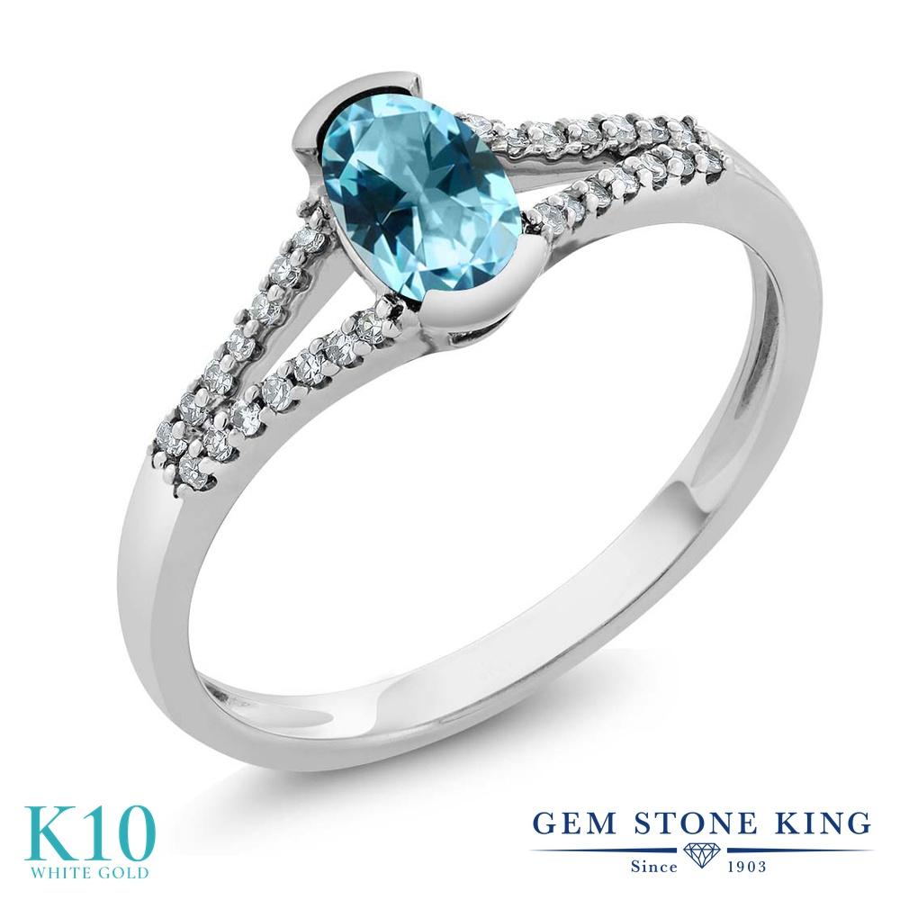 Gem Stone King 0.6カラット 天然石 アイスブルートパーズ (スワロフスキー 天然石シリーズ) 天然 ダイヤモンド 10金 ホワイトゴールド(K10) 指輪 リング レディース 小粒 マルチストーン 天然石 金属アレルギー対応 誕生日プレゼント
