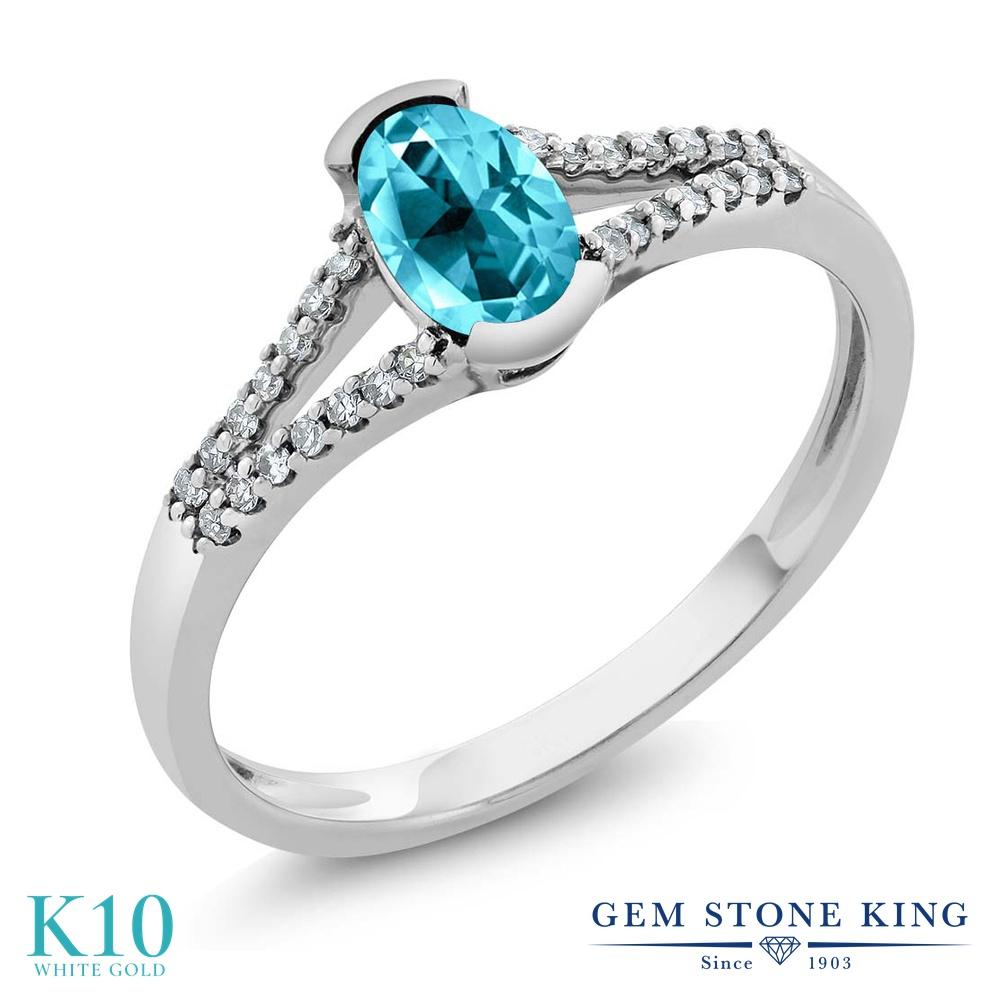 Gem Stone King 1.1カラット 天然石 パライバトパーズ (スワロフスキー 天然石シリーズ) 天然 ダイヤモンド 10金 ホワイトゴールド(K10) 指輪 リング レディース 大粒 マルチストーン 天然石 金属アレルギー対応 誕生日プレゼント