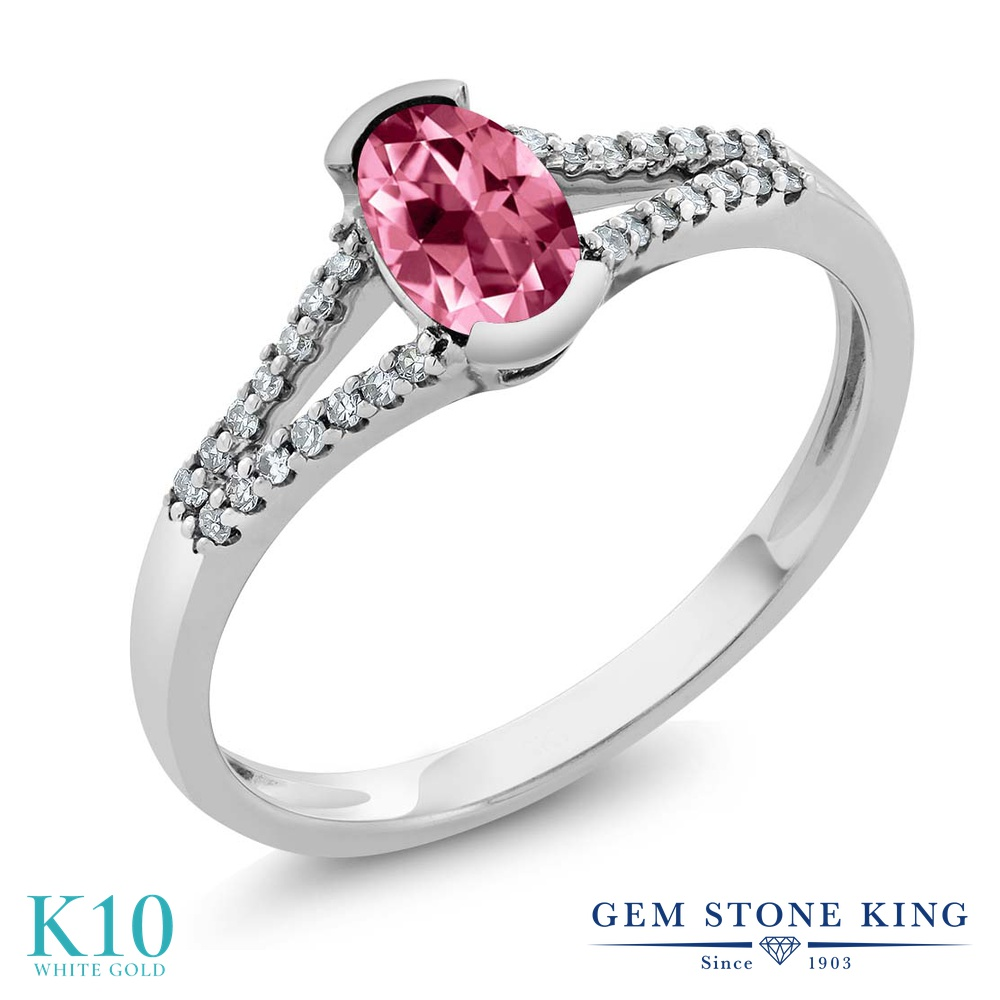 Gem Stone King 0.6カラット 天然石 ピンクトパーズ (スワロフスキー 天然石シリーズ) 天然 ダイヤモンド 10金 ホワイトゴールド(K10) 指輪 リング レディース 小粒 マルチストーン 天然石 金属アレルギー対応 誕生日プレゼント