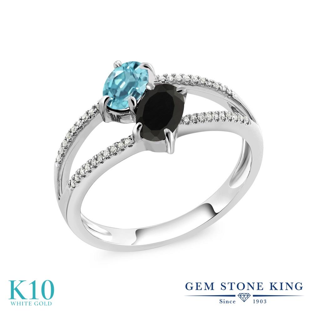 Gem Stone King 1.42カラット 天然石 ブルージルコン 天然 オニキス 天然 ダイヤモンド 10金 ホワイトゴールド(K10) 指輪 リング レディース ダブルストーン 天然石 12月 誕生石 金属アレルギー対応 誕生日プレゼント