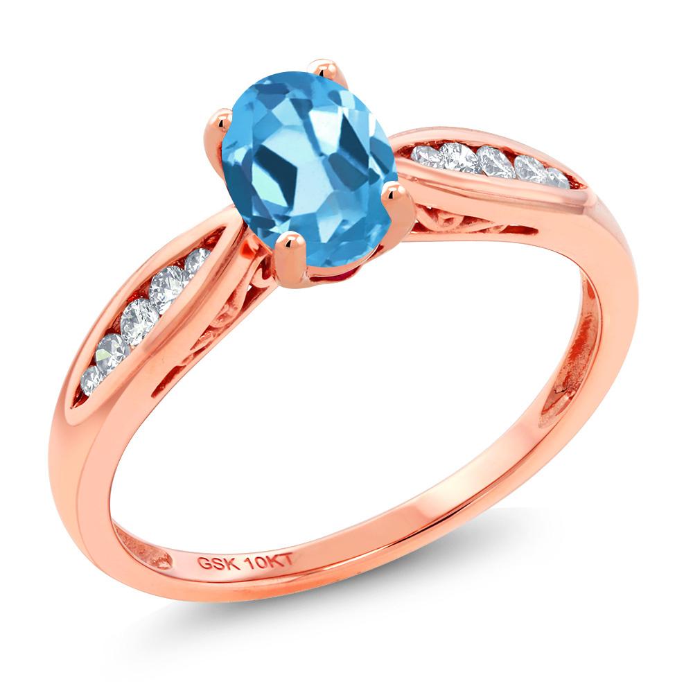 Gem Stone King 0.92カラット 天然 スイスブルートパーズ 天然 ダイヤモンド 10金 ピンクゴールド(K10) 指輪 リング レディース マルチストーン 天然石 11月 誕生石 金属アレルギー対応 婚約指輪 エンゲージリング