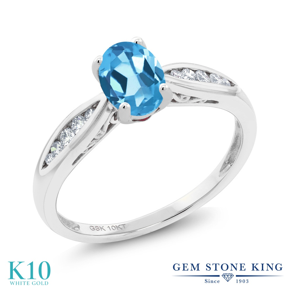 Gem Stone King 0.92カラット 天然 スイスブルートパーズ 天然 ダイヤモンド 10金 ホワイトゴールド(K10) 指輪 リング レディース マルチストーン 天然石 11月 誕生石 金属アレルギー対応 婚約指輪 エンゲージリング