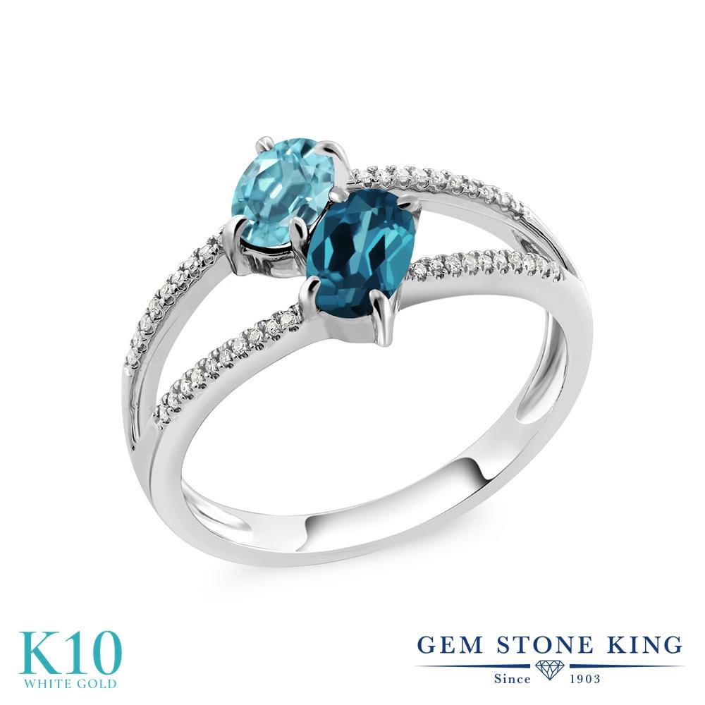 Gem Stone King 1.53カラット 天然石 ブルージルコン 天然 ロンドンブルートパーズ 天然 ダイヤモンド 10金 ホワイトゴールド(K10) 指輪 リング レディース ダブルストーン 天然石 12月 誕生石 金属アレルギー対応 誕生日プレゼント