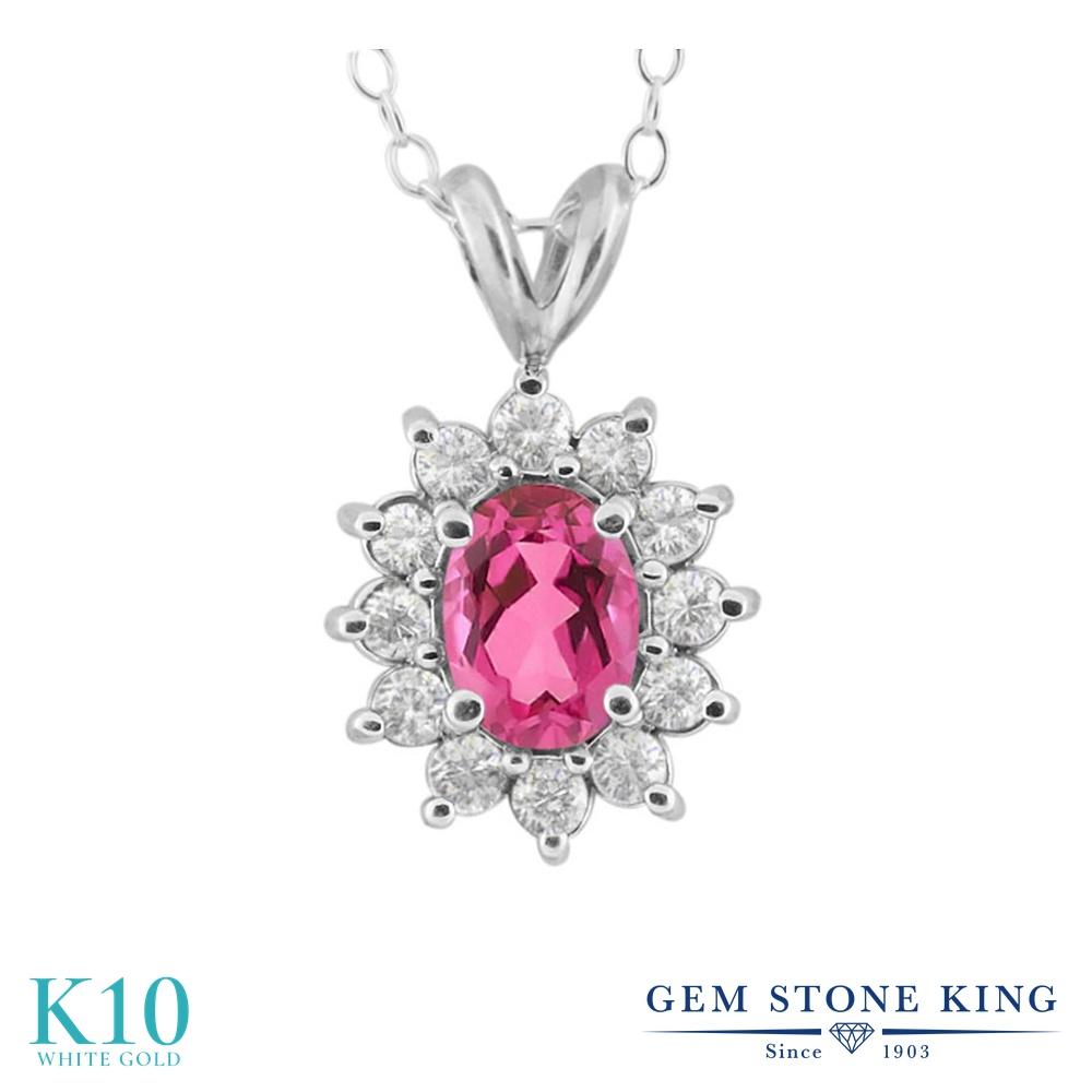 Gem Stone King 2.35カラット 天然 ミスティックトパーズ (ピンク) 10金 ホワイトゴールド(K10) ネックレス ペンダント レディース シンプル 天然石 金属アレルギー対応 誕生日プレゼント