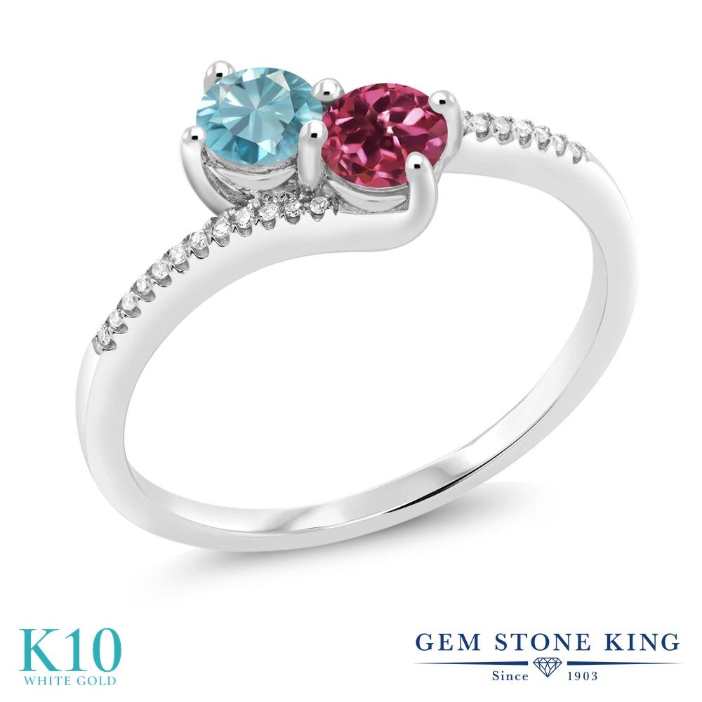 Gem Stone King 0.91カラット 天然石 ブルージルコン 天然 ピンクトルマリン 天然 ダイヤモンド 10金 ホワイトゴールド(K10) 指輪 リング レディース 小粒 ダブルストーン 天然石 12月 誕生石 金属アレルギー対応 誕生日プレゼント