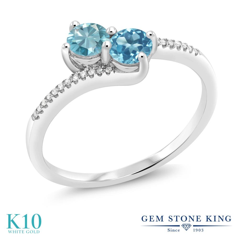 Gem Stone King 1カラット 天然石 ブルージルコン 天然 スイスブルートパーズ 天然 ダイヤモンド 10金 ホワイトゴールド(K10) 指輪 リング レディース 小粒 ダブルストーン 天然石 12月 誕生石 金属アレルギー対応 誕生日プレゼント