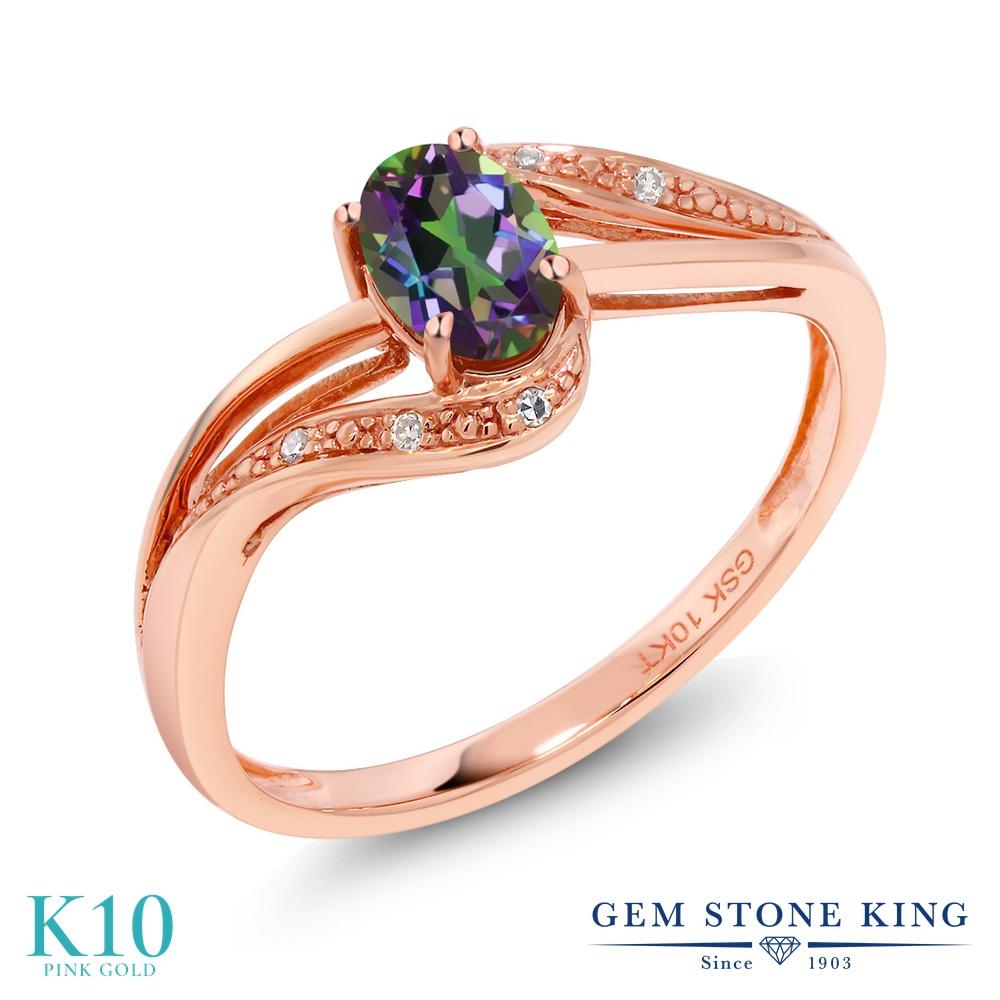 Gem Stone King 0.54カラット 天然石 ミスティックトパーズ (グリーン) 天然 ダイヤモンド 10金 ピンクゴールド(K10) 指輪 リング レディース 小粒 マルチストーン 天然石 金属アレルギー対応 婚約指輪 エンゲージリング