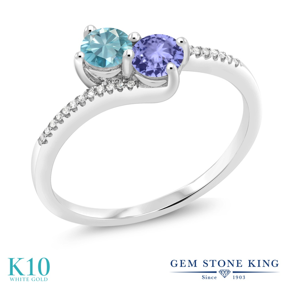 Gem Stone King 0.97カラット 天然石 ブルージルコン 天然石 タンザナイト 天然 ダイヤモンド 10金 ホワイトゴールド(K10) 指輪 リング レディース 小粒 ダブルストーン 天然石 12月 誕生石 金属アレルギー対応 誕生日プレゼント