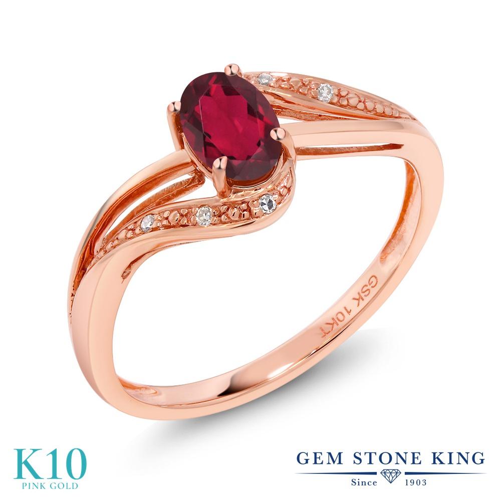 Gem Stone King 0.54カラット 天然 ミスティックトパーズ (ルビーレッド) 天然 ダイヤモンド 10金 ピンクゴールド(K10) 指輪 リング レディース 小粒 バイパス 天然石 金属アレルギー対応 婚約指輪 エンゲージリング