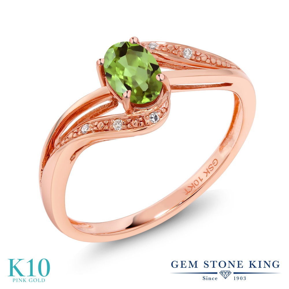 Gem Stone King 0.54カラット 天然石 ペリドット 天然 ダイヤモンド 10金 ピンクゴールド(K10) 指輪 リング レディース 小粒 マルチストーン 天然石 8月 誕生石 金属アレルギー対応 婚約指輪 エンゲージリング