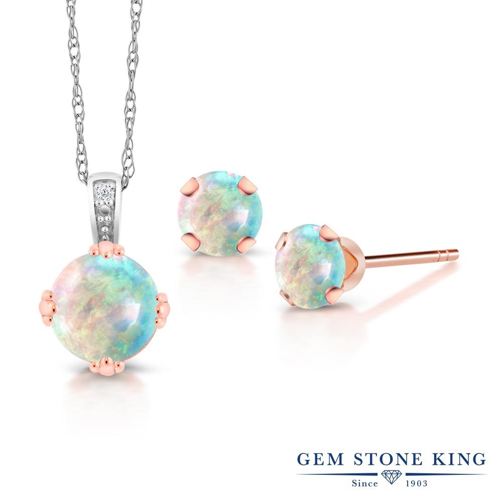 Gem Stone King 1.25カラット シミュレイテッド ホワイトオパール 天然 ダイヤモンド 10金 Two Toneゴールド(K10) ネックレス ペンダント レディース 10月 誕生石 金属アレルギー対応 誕生日プレゼント