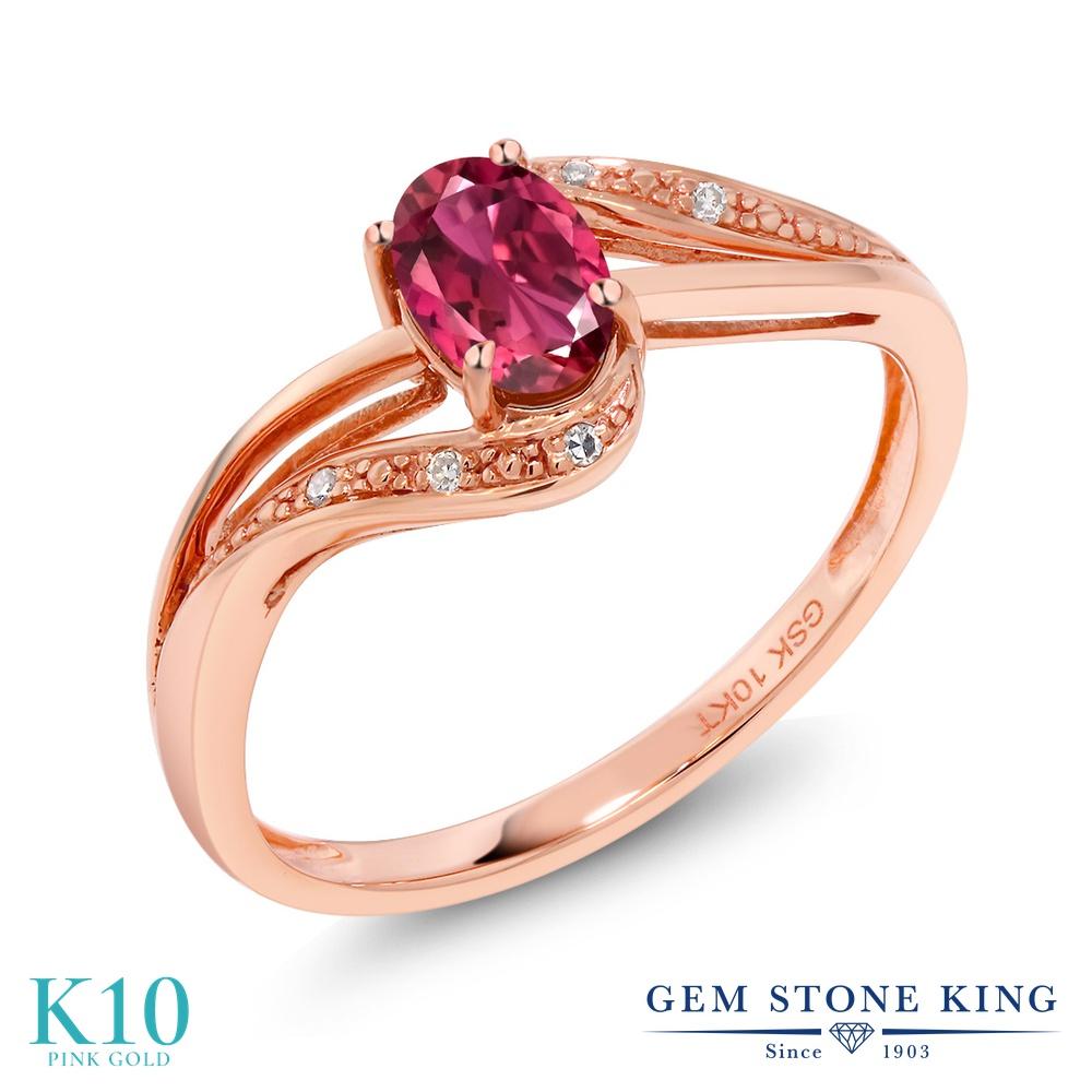 Gem Stone King 0.42カラット AAAグレード 天然 ピンクトルマリン 天然 ダイヤモンド 10金 ピンクゴールド(K10) 指輪 リング レディース 小粒 バイパス 天然石 金属アレルギー対応 婚約指輪 エンゲージリング