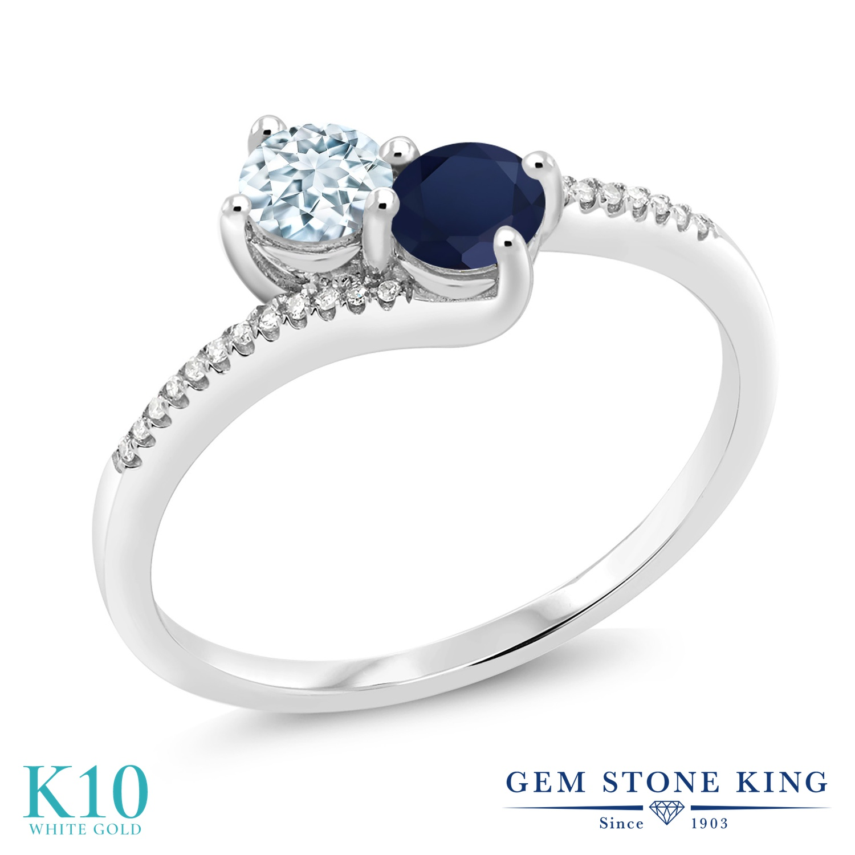 Gem Stone King 0.75カラット 天然 アクアマリン 天然 サファイア 天然 ダイヤモンド 10金 ホワイトゴールド(K10) 指輪 リング レディース 小粒 ダブルストーン 天然石 3月 誕生石 金属アレルギー対応 誕生日プレゼント