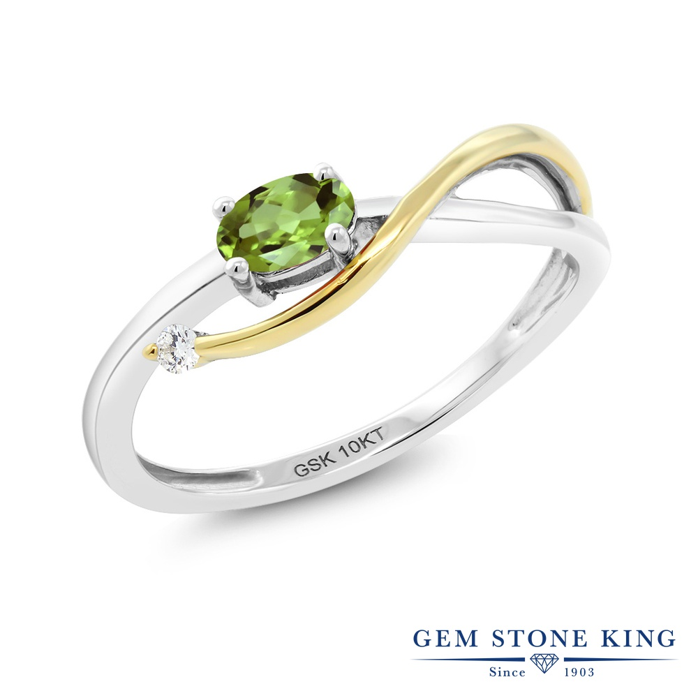 Gem Stone King 0.28カラット 天然石 ペリドット 天然 ダイヤモンド 10金 Two Toneゴールド(K10) 指輪 リング レディース 小粒 シンプル ソリティア 華奢 細身 天然石 8月 誕生石 金属アレルギー対応 婚約指輪 エンゲージリング