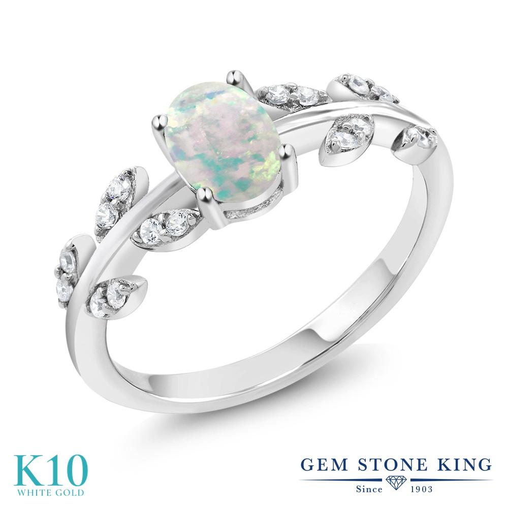 Gem Stone King 0.66カラット シミュレイテッド ホワイトオパール 天然 ダイヤモンド 10金 ホワイトゴールド(K10) 指輪 リング レディース オリーブ マルチストーン 10月 誕生石 金属アレルギー対応 誕生日プレゼント
