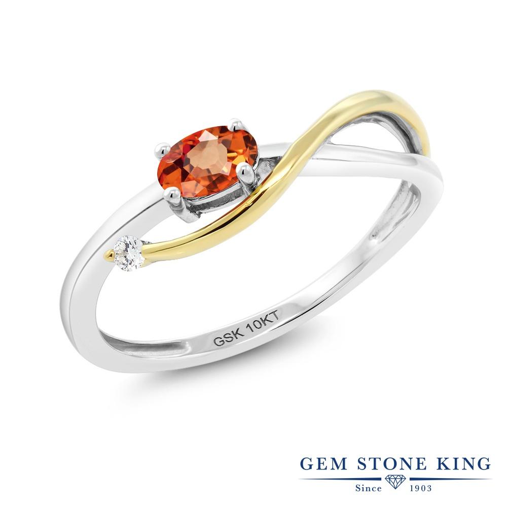Gem Stone King 0.29カラット 天然 オレンジサファイア 天然 ダイヤモンド 10金 Two Toneゴールド(K10) 指輪 リング レディース 小粒 シンプル ソリティア 華奢 細身 天然石 9月 誕生石 金属アレルギー対応 婚約指輪 エンゲージリング