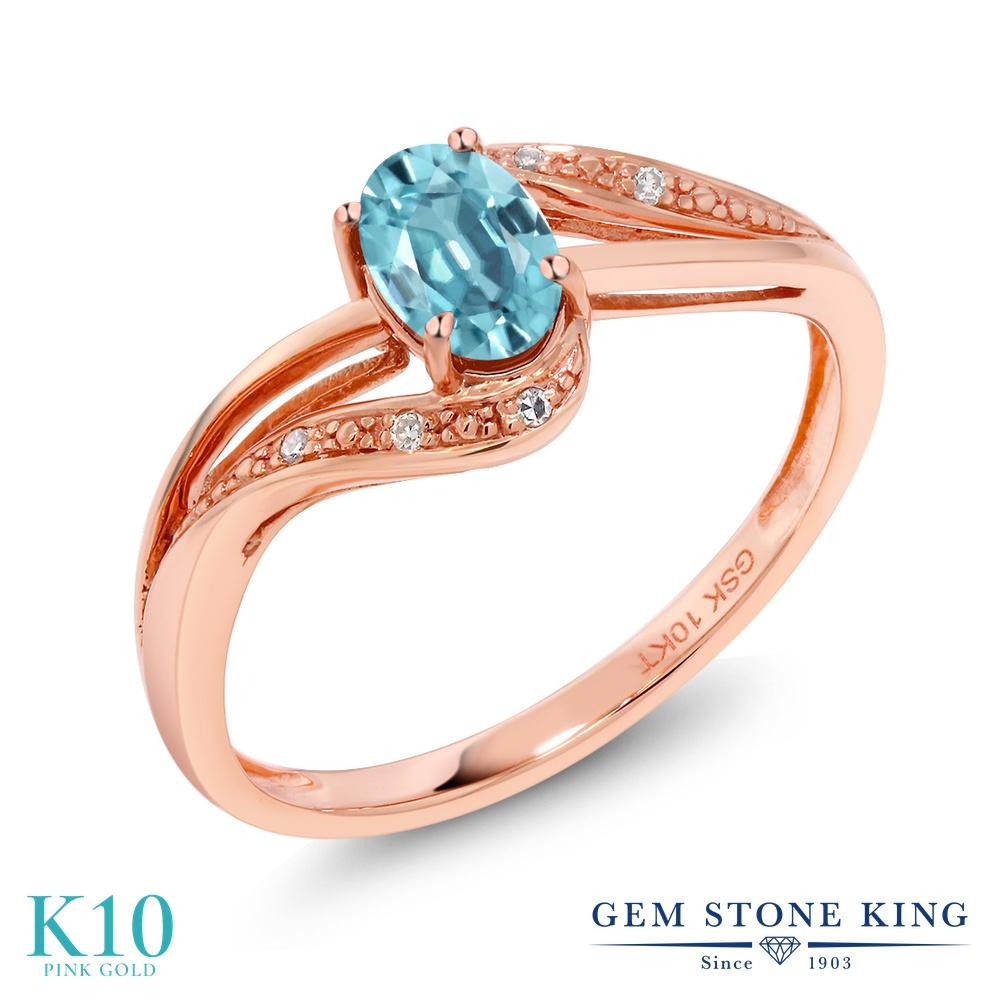 【10%OFF】 Gem Stone King 0.79カラット 天然石 ブルージルコン 天然 ダイヤモンド 指輪 リング レディース 10金 ピンクゴールド K10 バイパス 12月 誕生石 婚約指輪 エンゲージリング