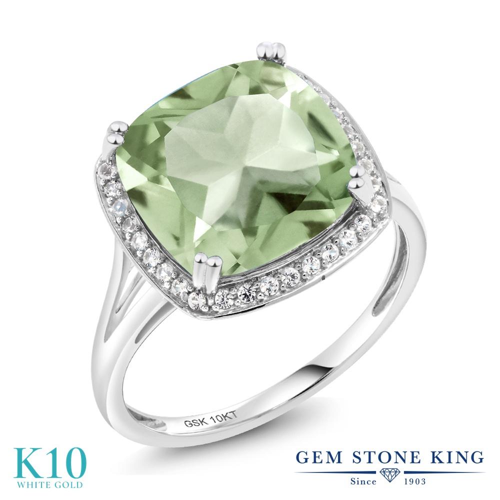 Gem Stone King 6.74カラット 天然 プラジオライト (グリーンアメジスト) 天然 ダイヤモンド 10金 ホワイトゴールド(K10) 指輪 リング レディース 大粒 大ぶり カクテル 天然石 金属アレルギー対応 誕生日プレゼント