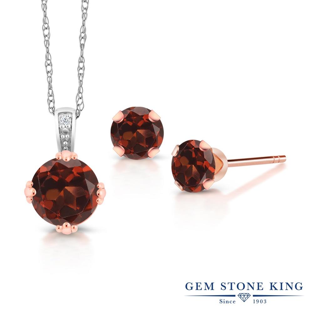 Gem Stone King 1.74カラット 天然 ガーネット 天然 ダイヤモンド 10金 Two Toneゴールド(K10) ネックレス ペンダント レディース 大粒 天然石 1月 誕生石 金属アレルギー対応 誕生日プレゼント