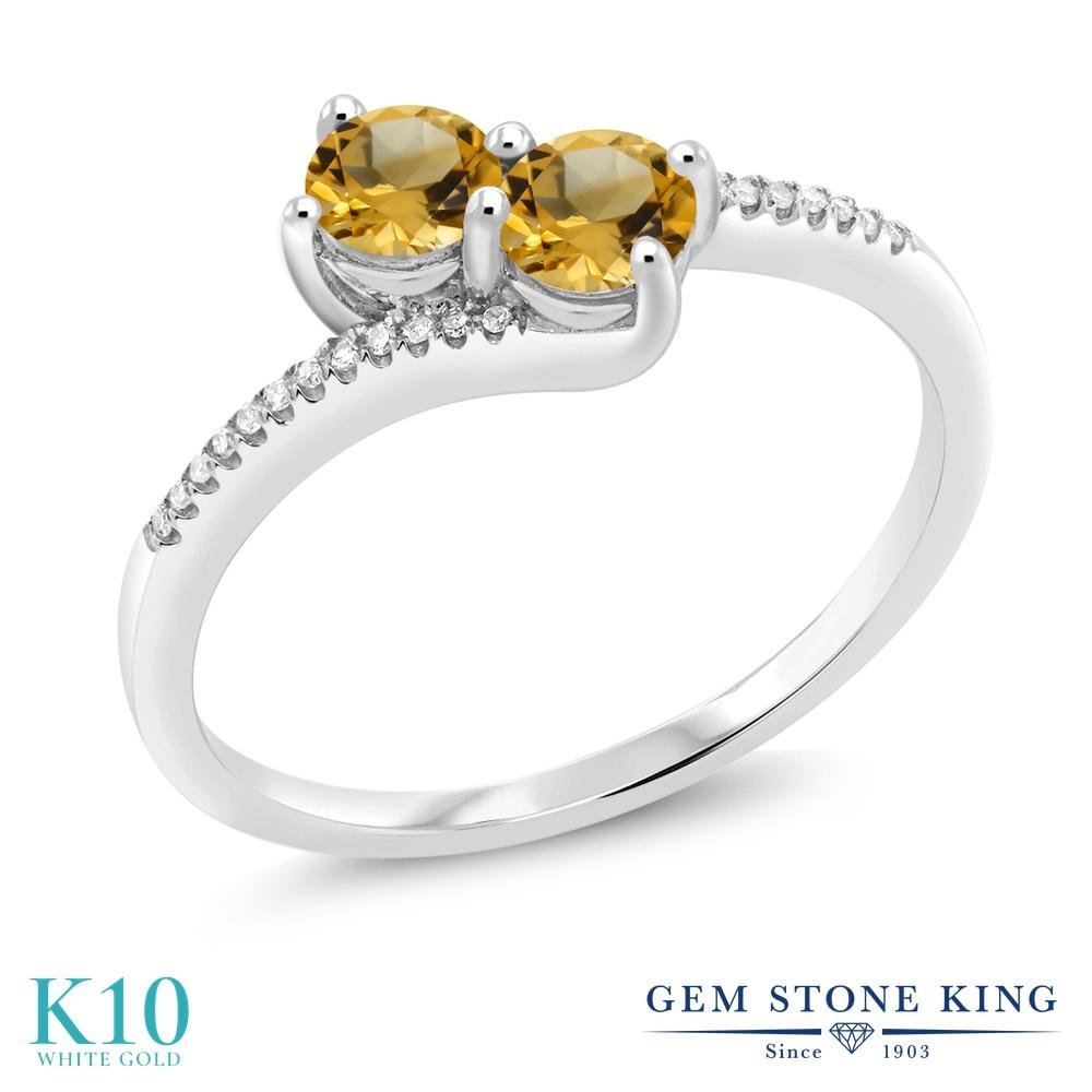 【10%OFF】 Gem Stone King 0.69カラット 天然 シトリン ダイヤモンド 指輪 リング レディース 10金 ホワイトゴールド K10 小粒 ダブルストーン 天然石 11月 誕生石 クリスマスプレゼント 女性 彼女 妻 誕生日