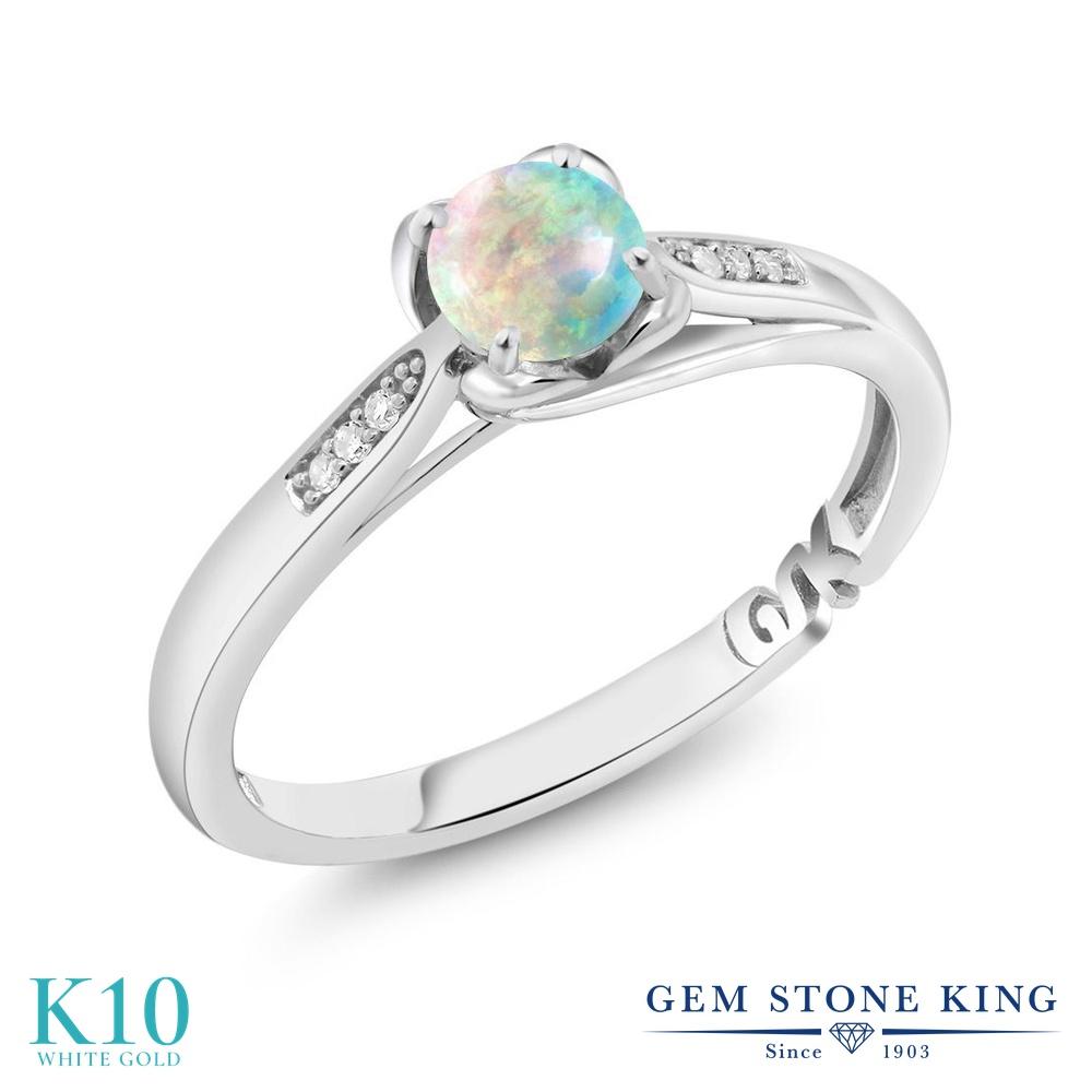【10%OFF】 Gem Stone King 0.54カラット シミュレイテッド ホワイトオパール 天然 ダイヤモンド 指輪 リング レディース 10金 ホワイトゴールド K10 小粒 マルチストーン 10月 誕生石 婚約指輪 エンゲージリング