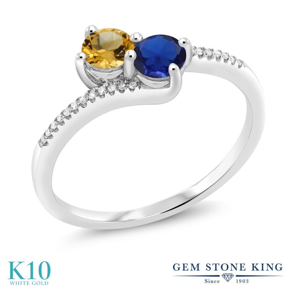 Gem Stone King 0.68カラット 天然 シトリン シミュレイテッド サファイア 天然 ダイヤモンド 10金 ホワイトゴールド(K10) 指輪 リング レディース 小粒 ダブルストーン 天然石 11月 誕生石 金属アレルギー対応 誕生日プレゼント