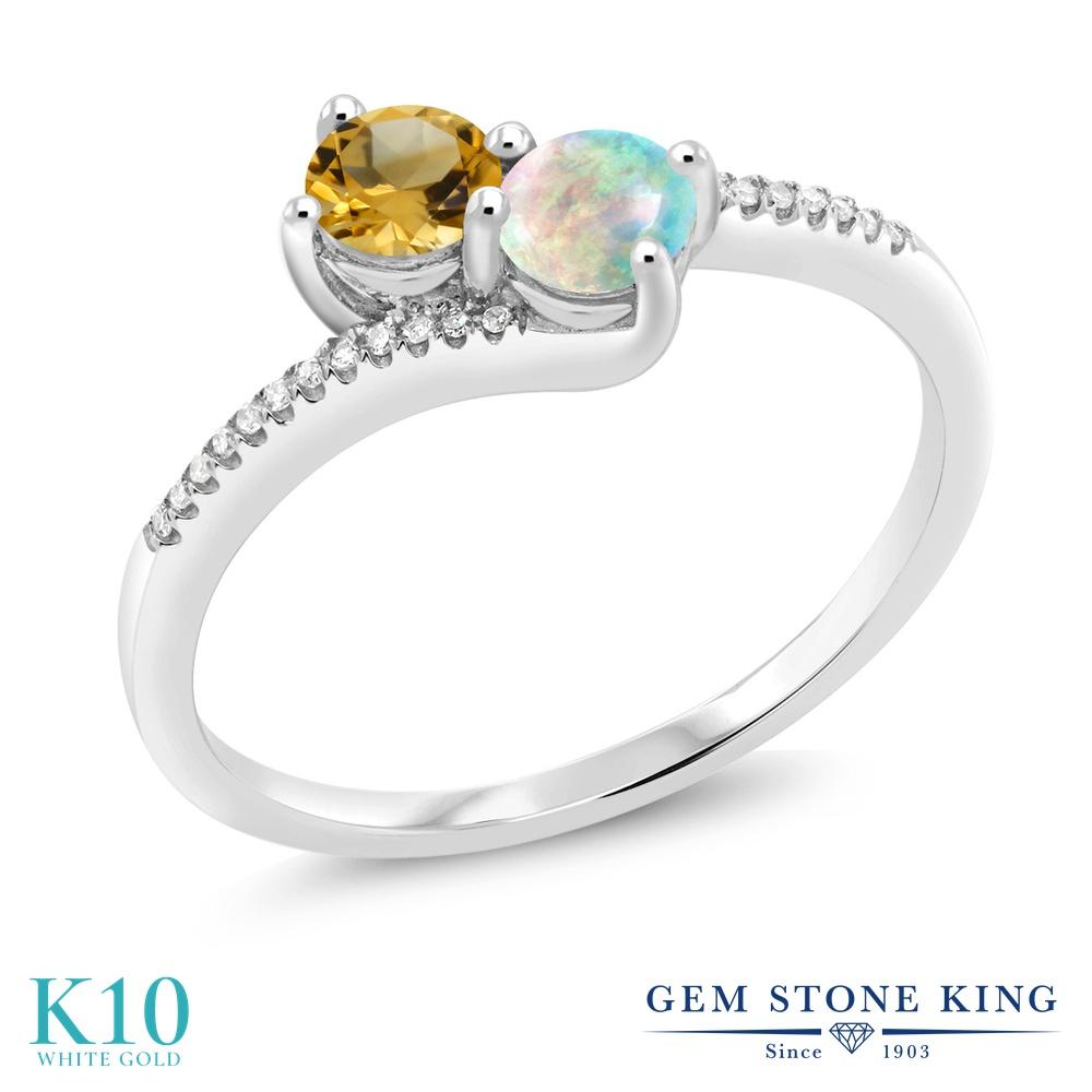 Gem Stone King 0.68カラット 天然 シトリン シミュレイテッド ホワイトオパール 天然 ダイヤモンド 10金 ホワイトゴールド(K10) 指輪 リング レディース 小粒 ダブルストーン 天然石 11月 誕生石 金属アレルギー対応 誕生日プレゼント