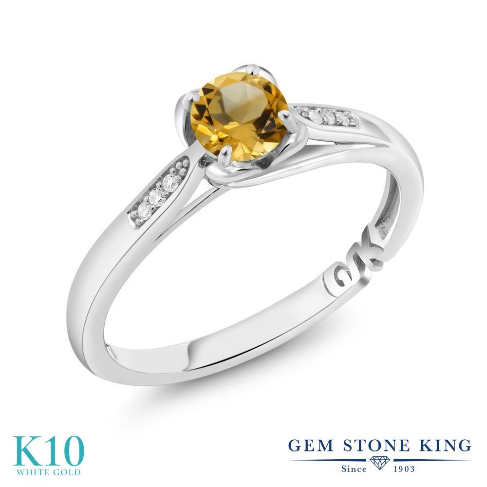 【10%OFF】 Gem Stone King 0.49カラット 天然 シトリン ダイヤモンド 指輪 リング レディース 10金 ホワイトゴールド K10 小粒 マルチストーン 天然石 11月 誕生石 婚約指輪 エンゲージリング