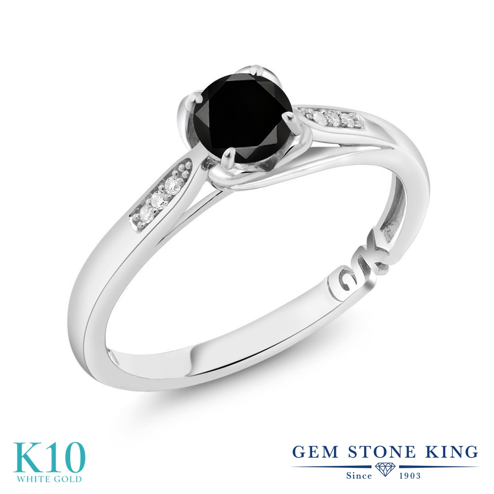 Gem Stone King 0.59カラット 天然ブラックダイヤモンド 10金 ホワイトゴールド(K10) 指輪 リング レディース ブラック ダイヤ マルチストーン 天然石 4月 誕生石 金属アレルギー対応 婚約指輪 エンゲージリング