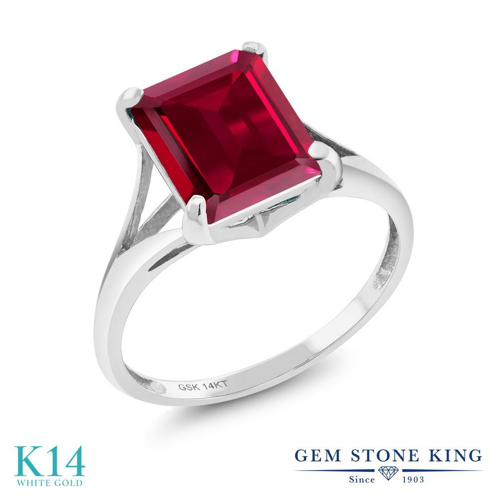 Gem Stone King 3.8カラット 合成ルビー 14金 ホワイトゴールド(K14) 指輪 リング レディース 大粒 一粒 シンプル ソリティア 金属アレルギー対応 誕生日プレゼント
