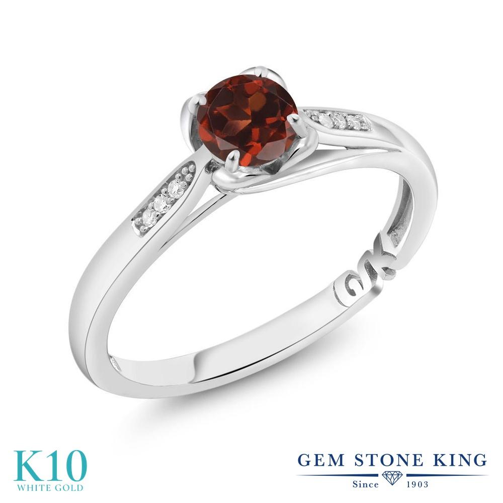 0.59カラット 天然 ガーネット 指輪 レディース リング ダイヤモンド 10金 ホワイトゴールド K10 ブランド おしゃれ 赤 マルチストーン 天然石 1月 誕生石 婚約指輪 エンゲージリング