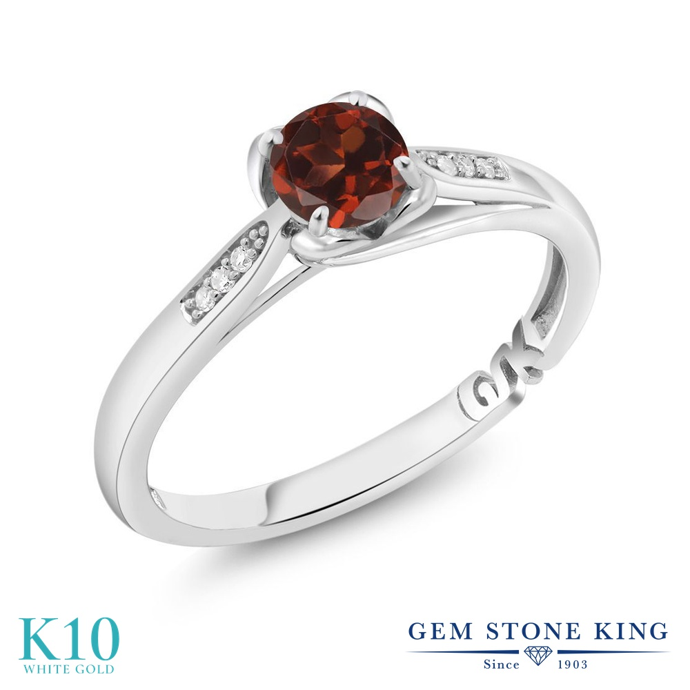 【10%OFF】 Gem Stone King 0.59カラット 天然 ガーネット ダイヤモンド 指輪 リング レディース 10金 ホワイトゴールド K10 マルチストーン 天然石 1月 誕生石 婚約指輪 エンゲージリング