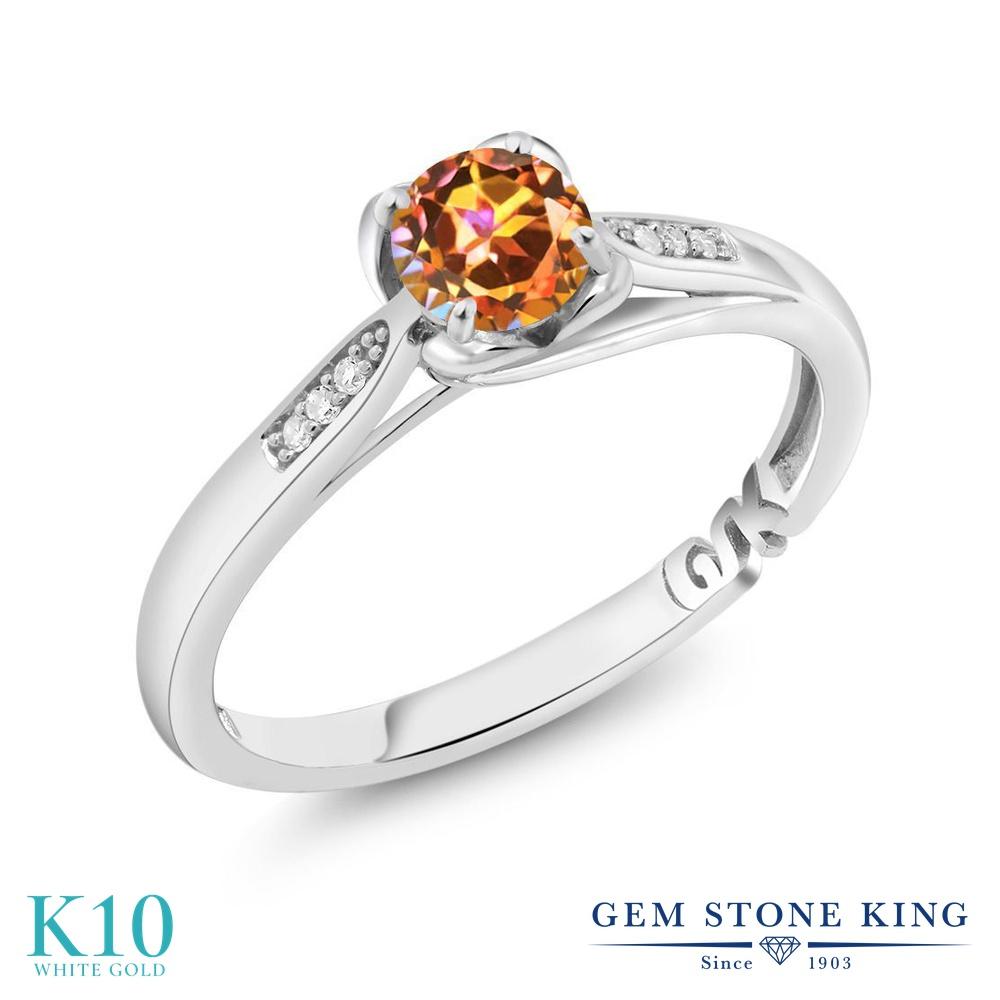 0.59カラット 天然石 エクスタシーミスティックトパーズ 指輪 レディース リング 天然 ダイヤモンド 10金 ホワイトゴールド K10 ブランド おしゃれ マルチストーン 婚約指輪 エンゲージリング