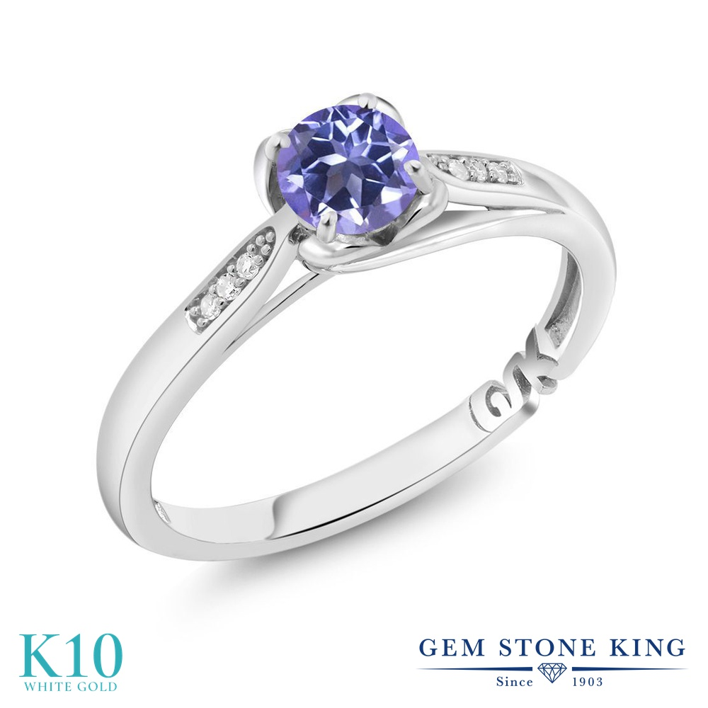 【10%OFF】 Gem Stone King 0.69カラット 天然 ミスティックトパーズ (タンザナイトブルー) ダイヤモンド 指輪 リング レディース 10金 ホワイトゴールド K10 マルチストーン 天然石 婚約指輪 エンゲージリング