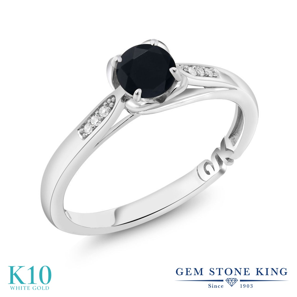 【10%OFF】 Gem Stone King 0.5カラット 天然 オニキス ダイヤモンド 指輪 リング レディース 10金 ホワイトゴールド K10 小粒 マルチストーン 天然石 8月 誕生石 クリスマスプレゼント 女性 彼女 妻 誕生日