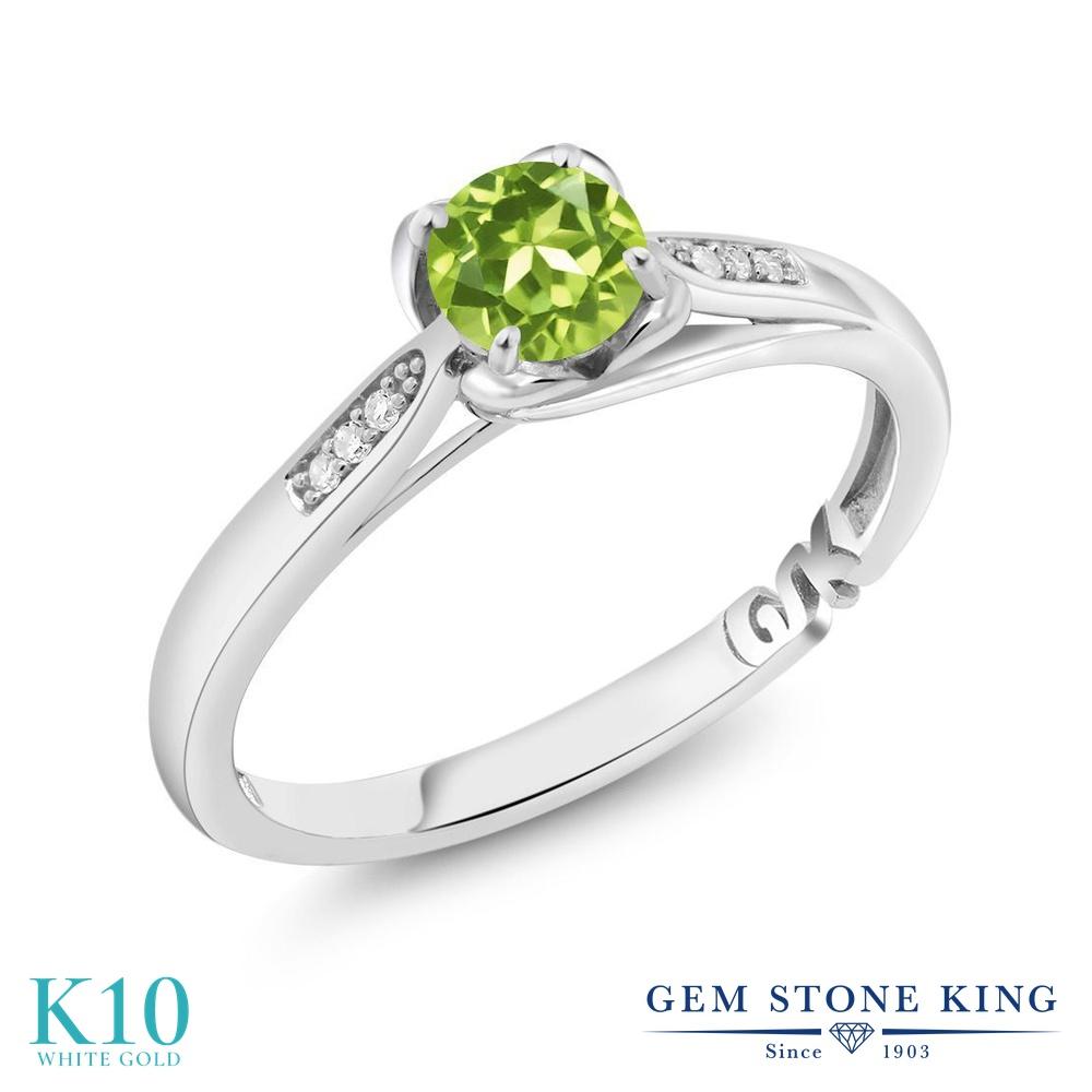 【10%OFF】 Gem Stone King 0.54カラット 天然石 ペリドット 天然 ダイヤモンド 指輪 リング レディース 10金 ホワイトゴールド K10 小粒 マルチストーン 8月 誕生石 婚約指輪 エンゲージリング