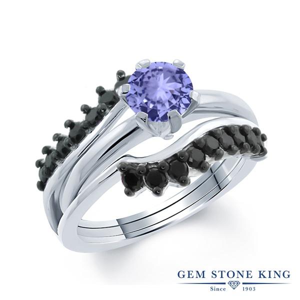1.3カラット 天然石 タンザナイト 指輪 レディース リング ブラックダイヤモンド シルバー925 ブランド おしゃれ 重ね着け 青 小粒 エンハンサー 12月 誕生石 プレゼント 女性 彼女 妻 誕生日